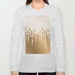 Marble and Geometric Diamond Drips, in Gold Long Sleeve T-shirt