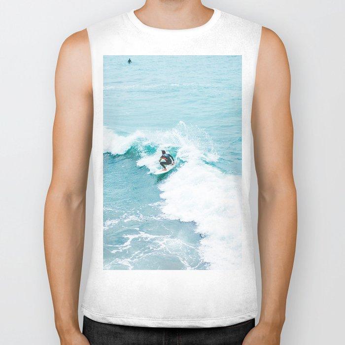 Wave Surfer Turquoise Biker Tank