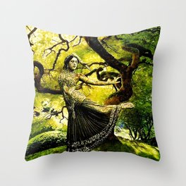 Beneath the Bodhi Tree Throw Pillow