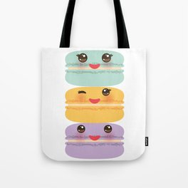 Kawaii macaroon funny orange blue lilac cookie with pink cheeks with pink cheeks and big eyes Tote Bag