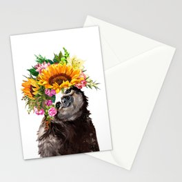 Sloth with Sunflower Crown Stationery Cards