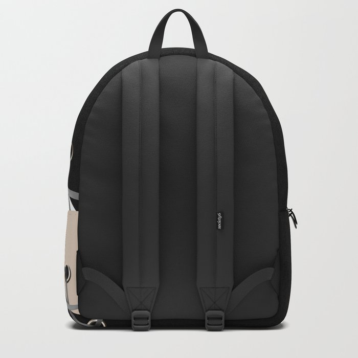 Lacing . Black , white and beige . Backpack