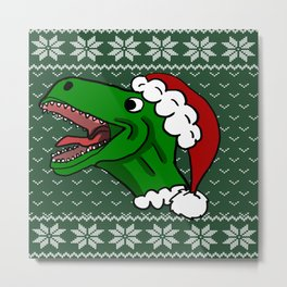 Santa T-Rex Christmas Sweater Metal Print