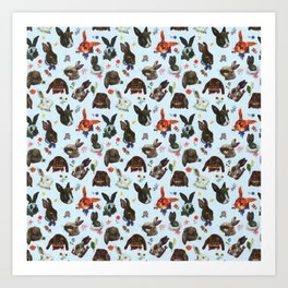 Spring Bunny Rabbits Forest Floral Art Print
