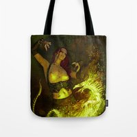 witchcraft Tote Bags featuring Witchcraft by Pinturero