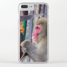Pensive Snow Monkey Clear iPhone Case