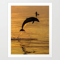 Dave the Uk's friendly dolphin Art Print