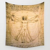 da vinci Wall Tapestries featuring Vitruvian Man by Leonardo da Vinci by Palazzo Art Gallery