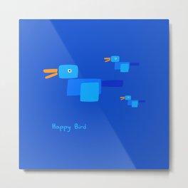 Happy Bird-Blue Metal Print