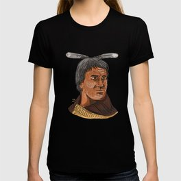 Maori Chief Warrior Bust Watercolor T-shirt