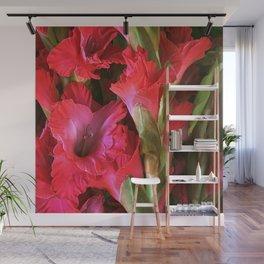 Hawaii Tropical Gladiolus Flower in Rhapsody Red Wall Mural