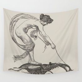 Nude Classical Woman Riding a Beetle 1895-1896 Wall Tapestry