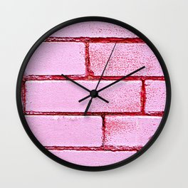 Pink Bricks Wall Clock