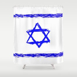 flag of israel 9- יִשְׂרָאֵל ,israeli,Herzl,Jerusalem,Hebrew,Judaism,jew,David,Salomon. Shower Curtain