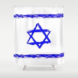 flag of israel 9-יִשְׂרָאֵל ,israeli,Herzl,Jerusalem,Hebrew,Judaism,jew,David,Salomon. Shower Curtain