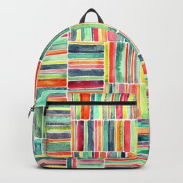 Retro Beach Chair Bright Watercolor Stripes on White Backpack
