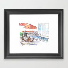 Lounging by the Pool Framed Art Print