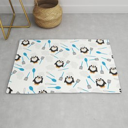 Penguin Chef Pattern with Baking and Cooking Utensils Rug