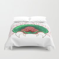 metroid Duvet Covers featuring Baby Metroid by Heather LW