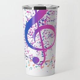 Music Notes Circle Colorful Treble Clef Travel Mug