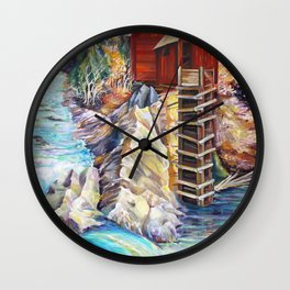 Rocky Mountains Colorado, Crystal Mill Marble, Wooden Old Mill Wall Clock