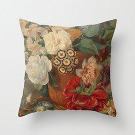 Flowers in a Terra Cotta Vase by Albertus Jonas Brandt Throw Pillow