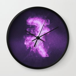 Indian Rupee sign, Indian Rupee symbol. Monetary currency symbol. Abstract night sky background. Wall Clock