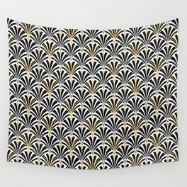 Art Deco Fan Pattern, Black and White Wall Tapestry