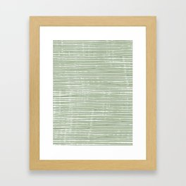 Stripes, Mudcloth, Sage Green, Boho Wall Art Framed Art Print