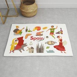 Spain traditional symbols set. Travel tourist element.Traditional spainish corrida, flamenco, guitar Rug