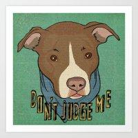 pit bull Art Prints featuring Pit bull Pride by Sara Robish Andrews