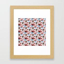Cute Succulent Pot Plant Pattern Framed Art Print