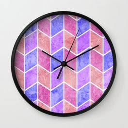 Pink and Purple Geometric Diamonds Digital Chevron Pattern Wall Clock