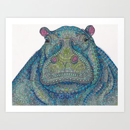 Hippie-Potamus (Blue) Art Print