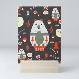 Christmas bears and birds Mini Art Print