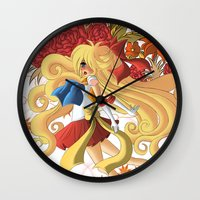 sailormoon Wall Clocks featuring Venus by Christine Tribou