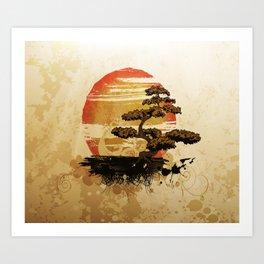Bonsai Tree In The Sunset Art Print