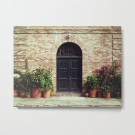 Courtyard Door Metal Print