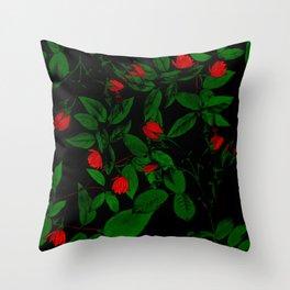 Scarlet buds Throw Pillow