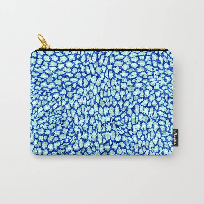 Blue Glitter Leopard Print Carry-All Pouch