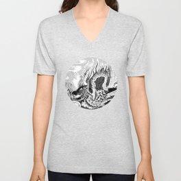 greyscale dragon Unisex V-Neck