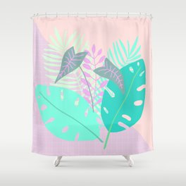 Modern tropical leaves print with monstera Shower Curtain