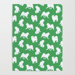 Samoyed Pattern (Green Background) Poster