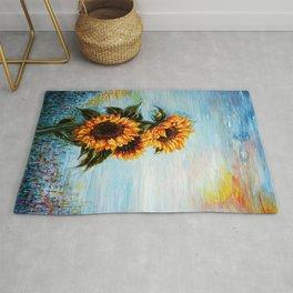 Sunflowers! Where Ocean meets Sky Rug