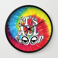 hippy Wall Clocks featuring Hippy by Top Head Culture
