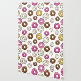 Donut Pattern - White Wallpaper