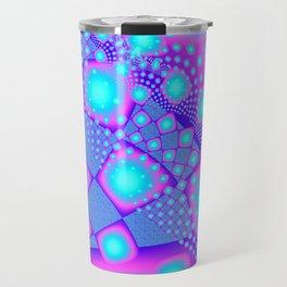 Neon Molecules Psychedelic Fractal Travel Mug