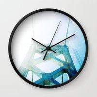 oakland Wall Clocks featuring oakland bay bridge  by Ciara Rose Photography