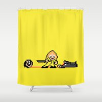 kill bill Shower Curtains featuring Kill Pixel Bill  by Eric A. Palmer