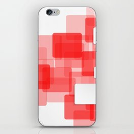 RED AND WHITE SQUARES ON A WHITE BACKGROUND Abstract Art iPhone Skin